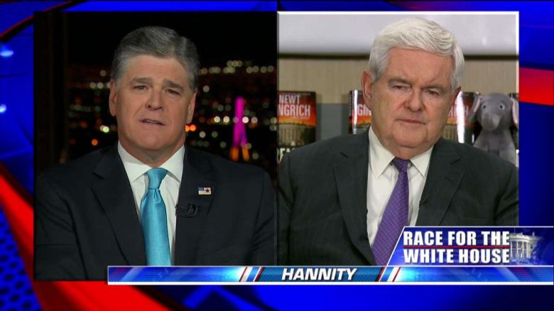 Newt Gingrich shamelessly promotes fiction on Hannity