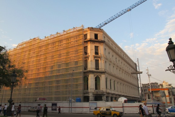 Restoration underway on a Neoclassical building near Old Havana's Parque Central.