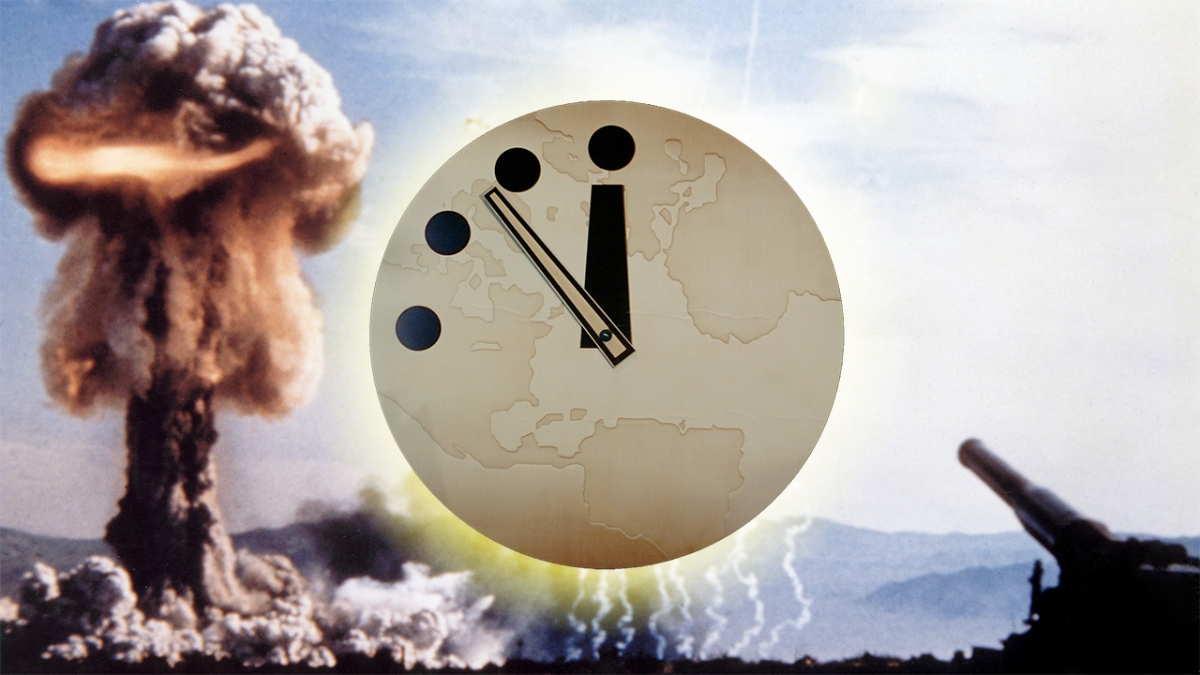 Doomsday clock two and half minutes from midnight